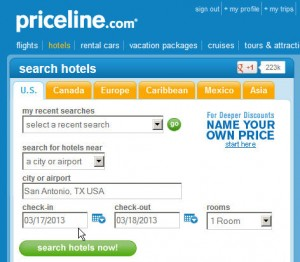 Priceline Hotel Savings - Search Criteria